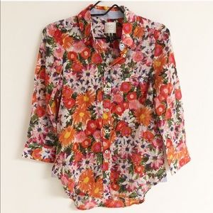 HD in Paris Anthropologie Floral Button Up Top